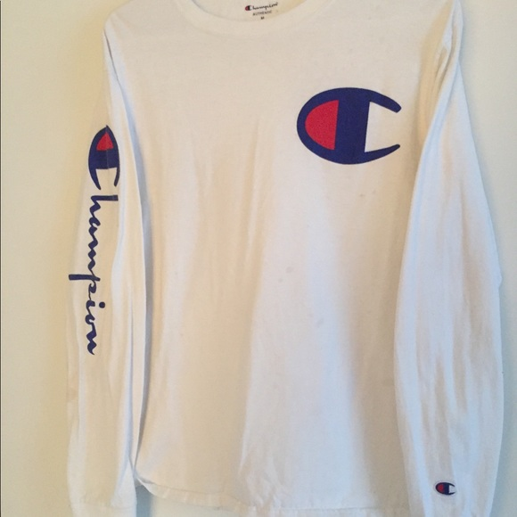 b6a00599 Champion Tops | White Long Sleeve Shirt | Poshmark